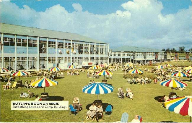 Butlin's Bognor Regis - Sunbathing Lawns and Camp Buildings