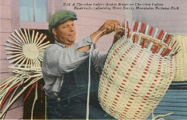 A Cherokee Indian Basket Maker on Cherokee Indian Reservation