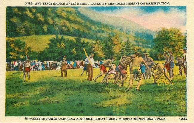 Ani-Tsagi (Indian Ball) Being Played By Cherokee Indians