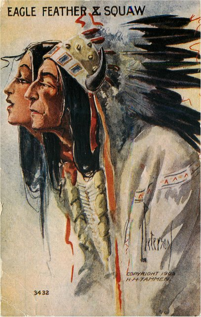 Eagle Feather and Squaw Indian Postcard
