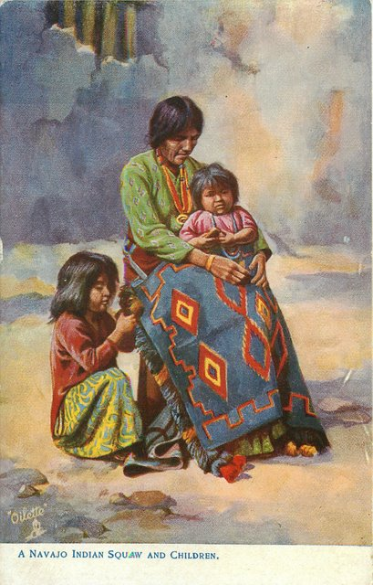 A Navajo Indian Squaw and Children Postcard