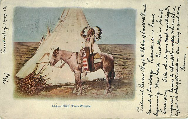 Chief Two Whistle Indian Postcard