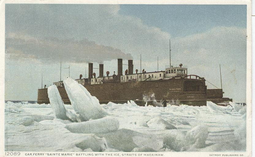 "Car Ferry ""Sainte Marie"" Battling with the ice, straits"