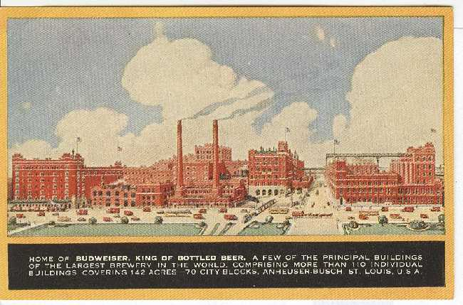 Alcohol Postcard - Home of Budweiser, King of Bottled Beer