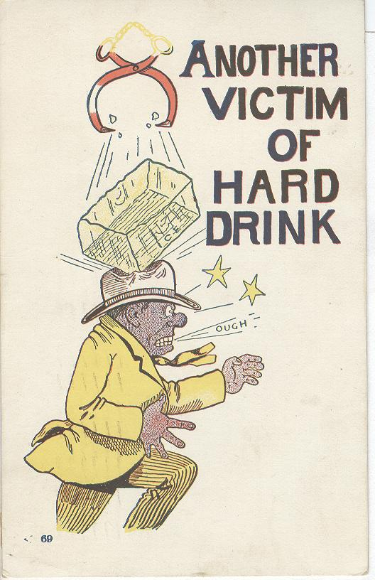 Alcohol Postcard - Another Victim of Hard Drink