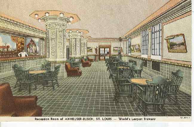 Alcohol Postcard-Reception Room of Anheuser-Busch, St. Louis