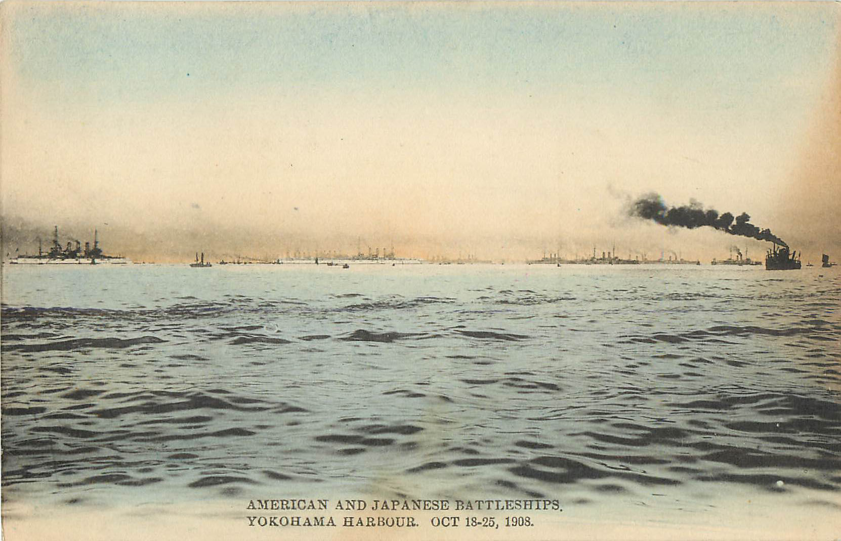 American and Japanese Battlesships, Yokohama Harbour, Japan