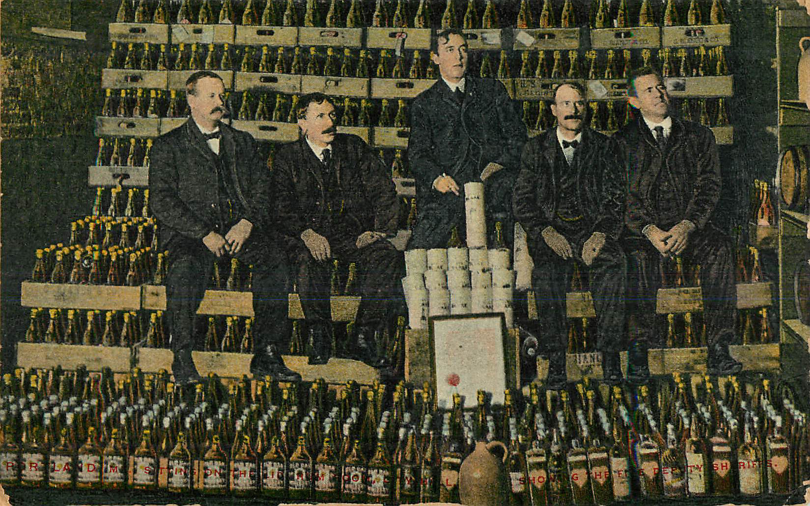 Alcohol Postcard - 5 Men with Cases of Alcohol