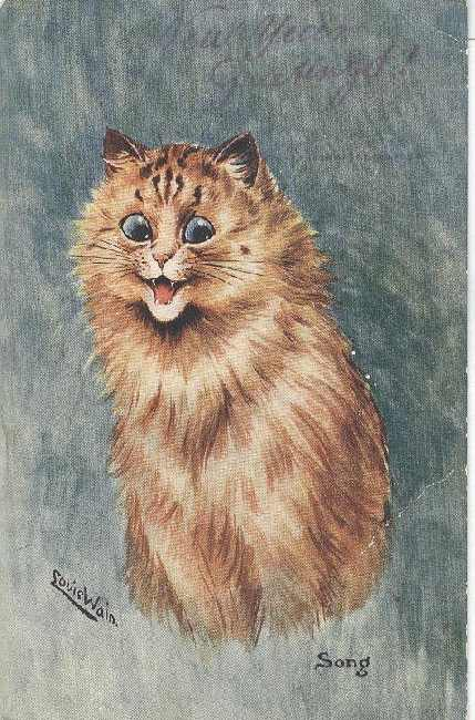 Cat Postcard - Louis Wain New Year Greetings! Signed