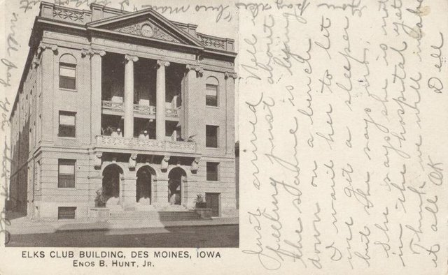 Elks Club Building Des Moines Iowa Enos B Hunt Jr. Club Postcard