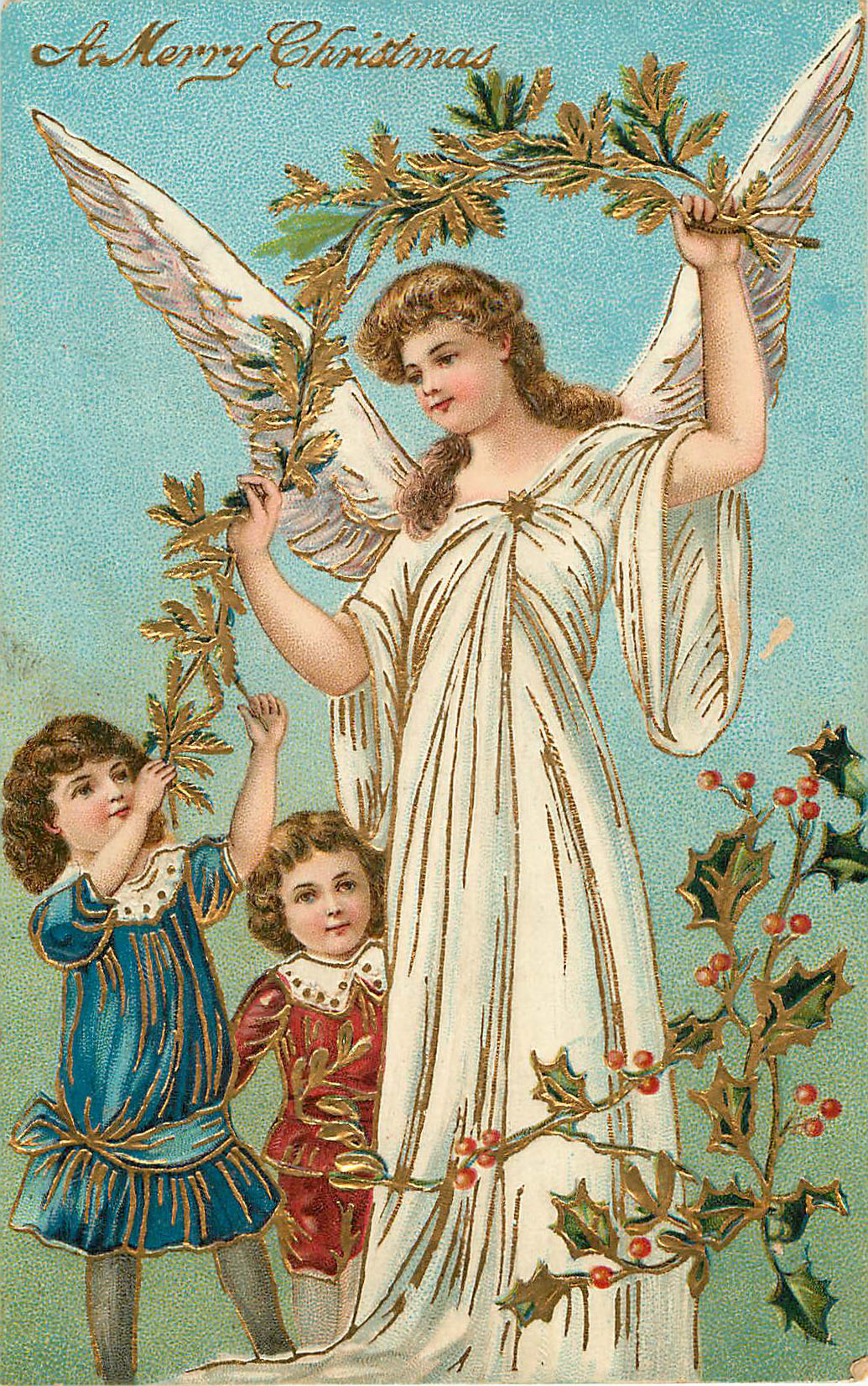A Merry Christmas - Angel with Small Children