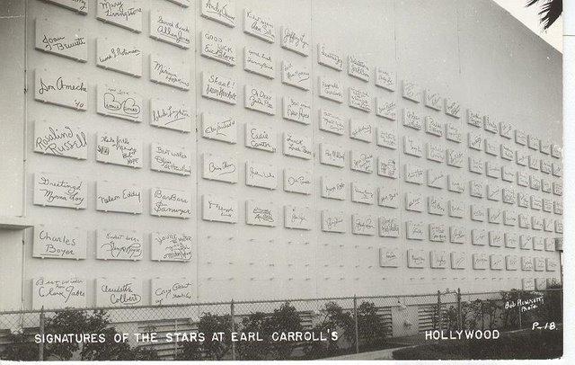 Signatures of the Stars at Earl Carroll's - Hollywood, CA