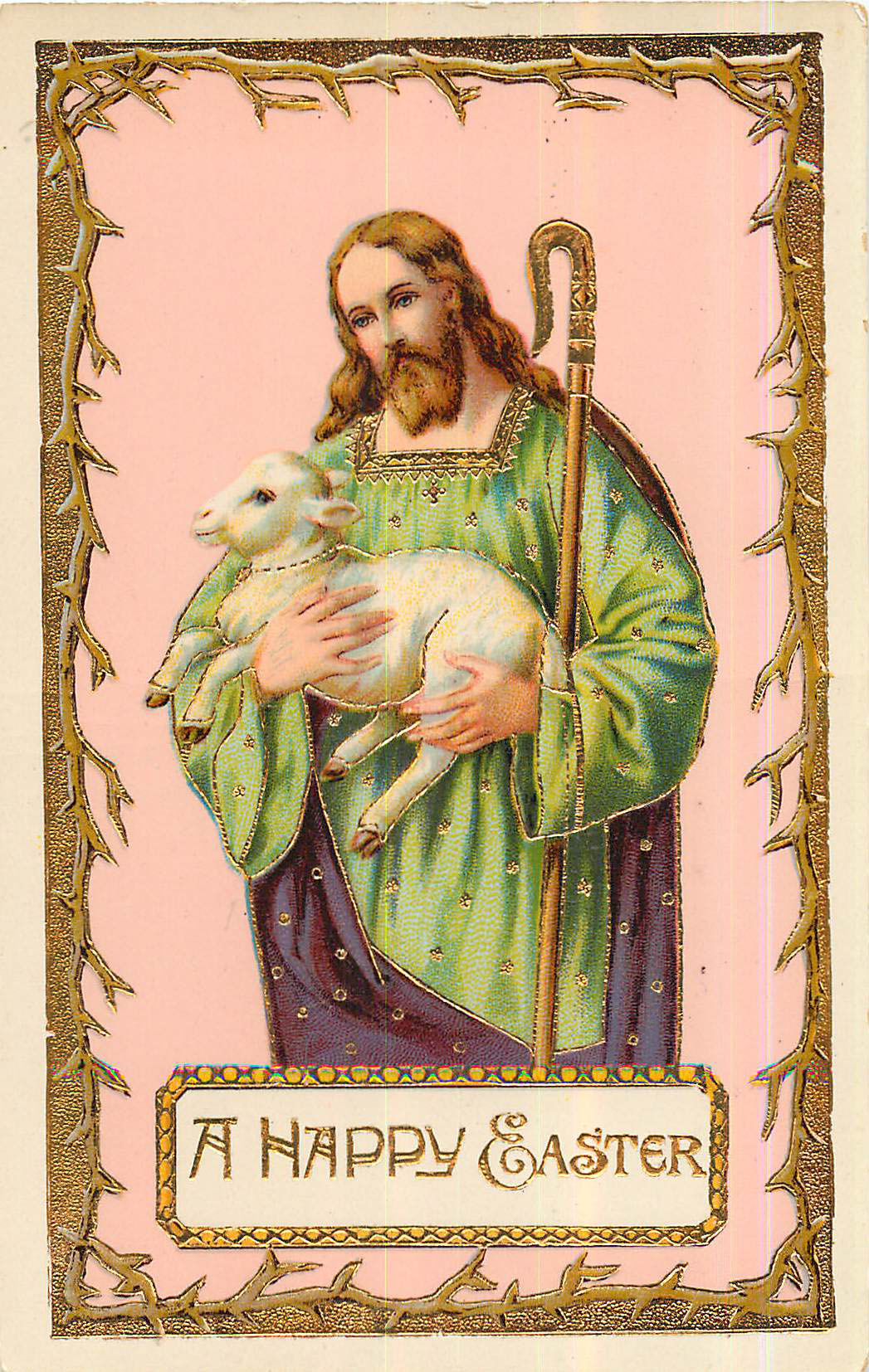 A Happy Easter - Holding a lamb and staff