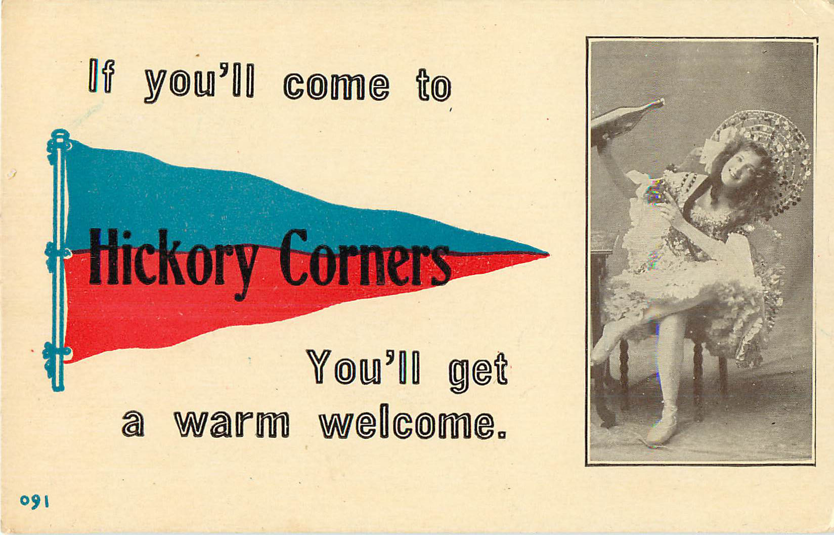 If you'll come to Hickory Corners - Pennant Postcard