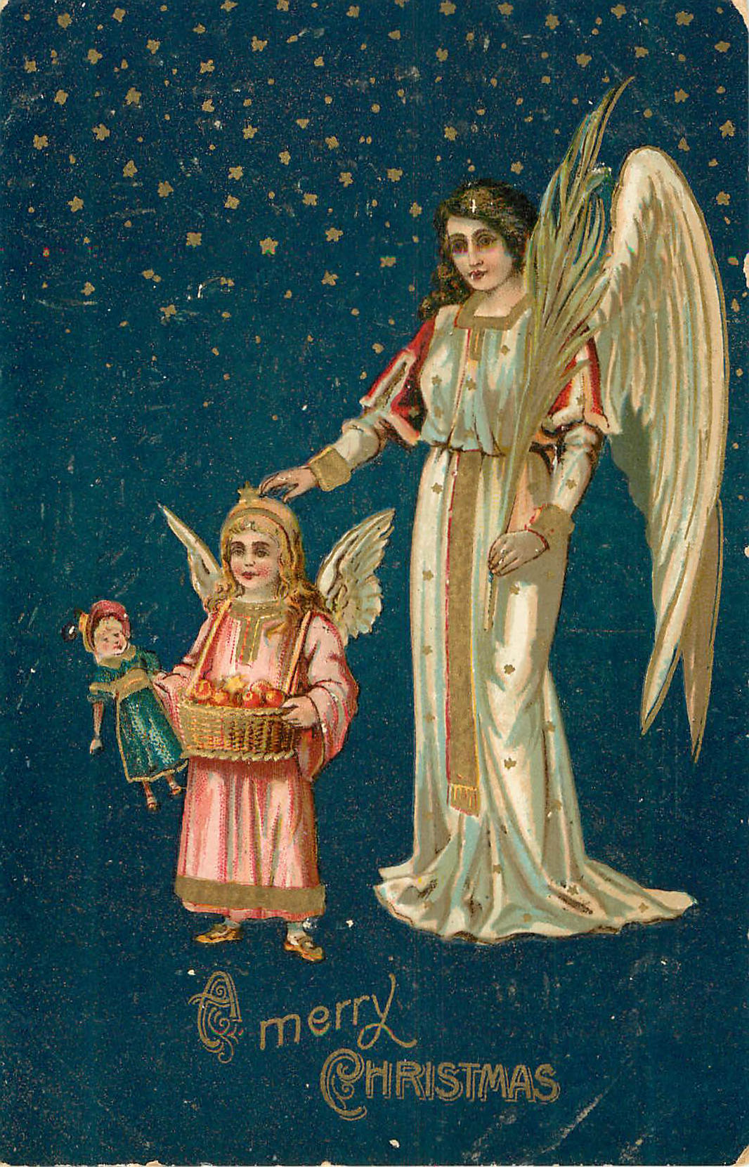 Merry Christmas - Angel with child and doll