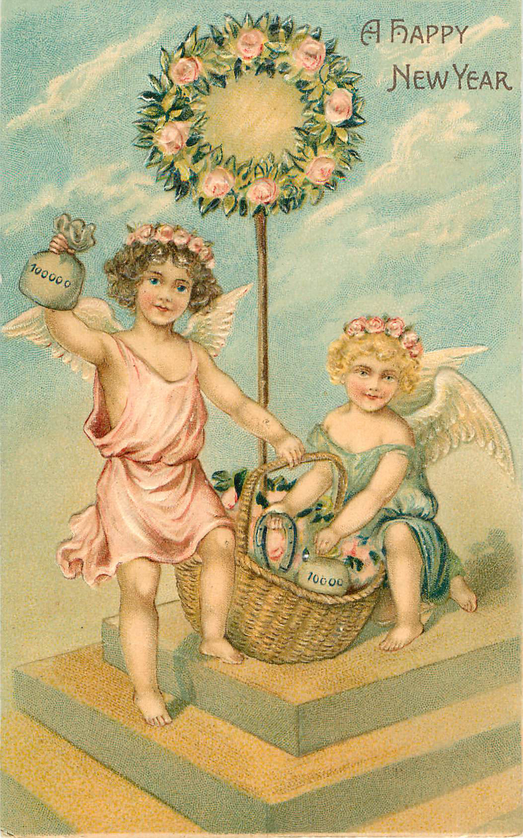 A Happy Easter - Small Angels with Basket and Wreath