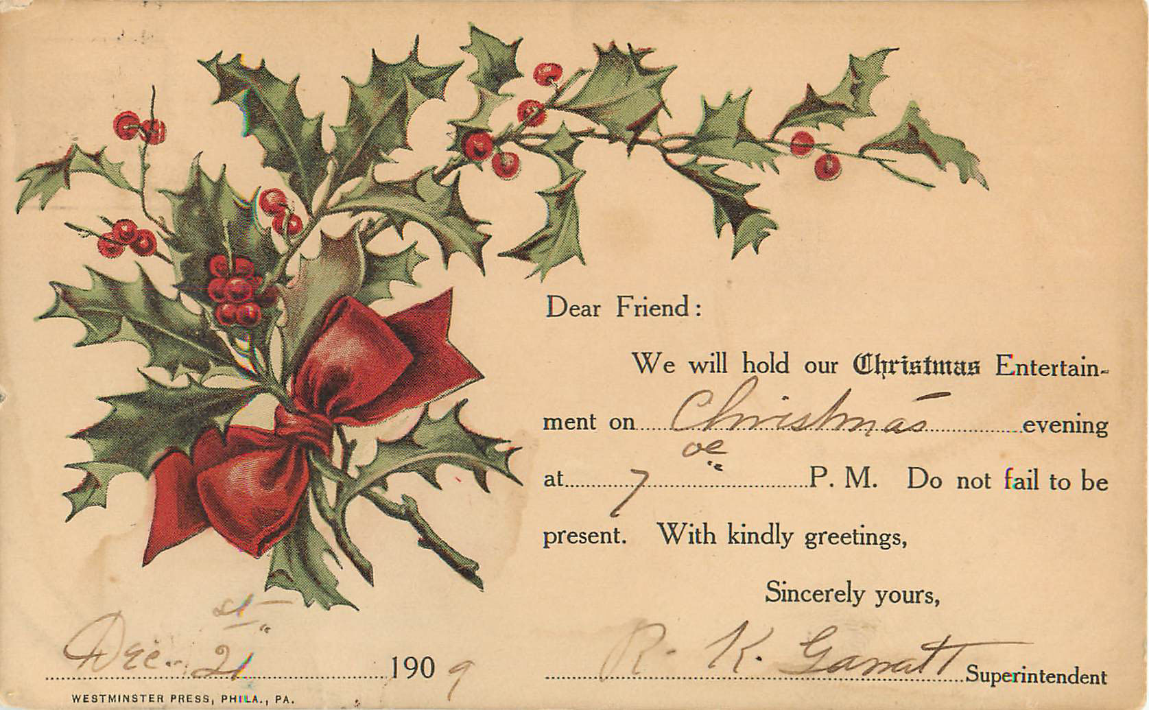 Christmas Entertainment Appointment Card