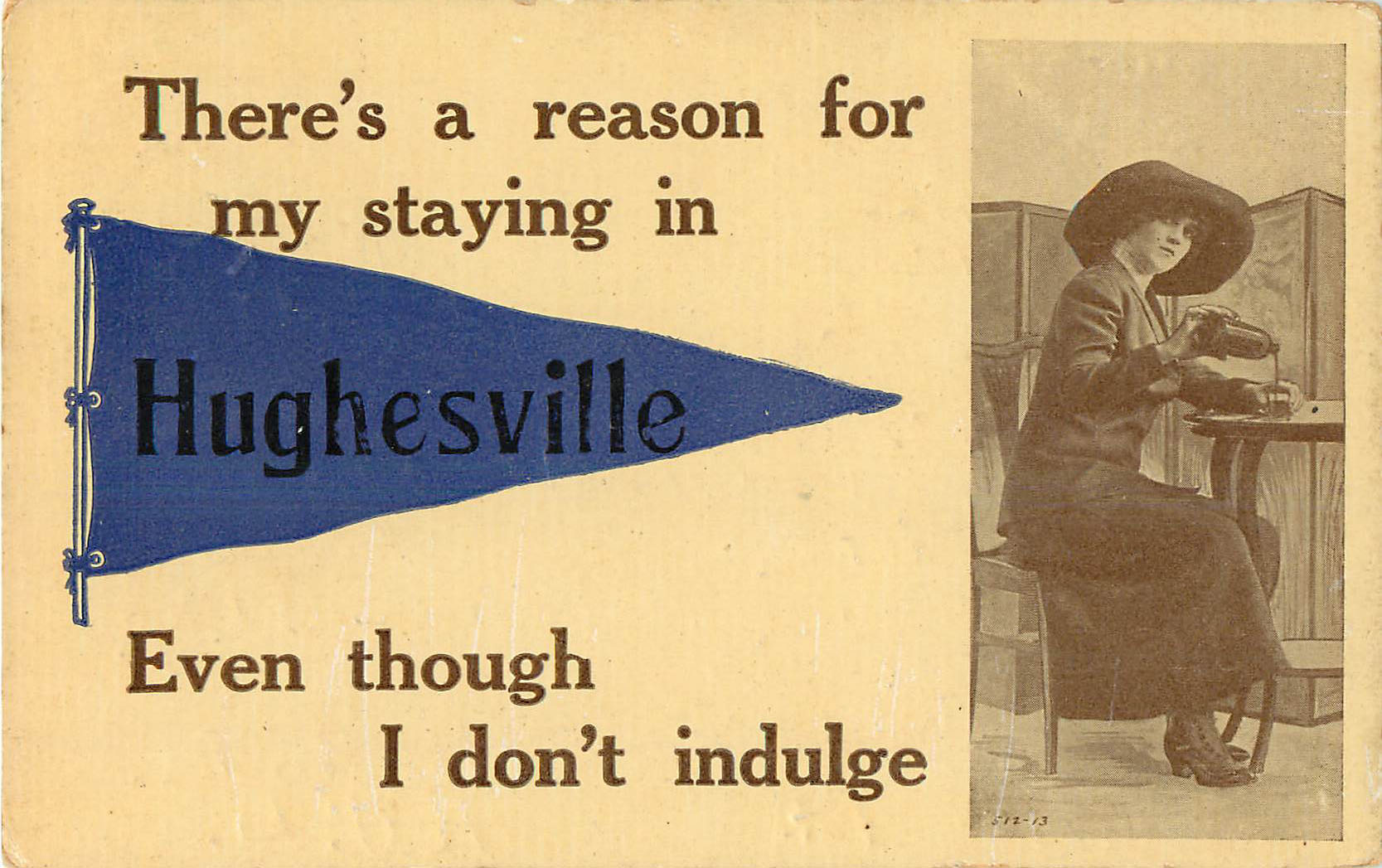 There's a reason for my staying in Hughesville Pennant Postcard