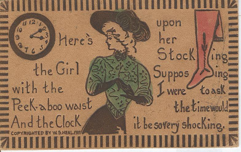 Here's the Girl with the Peek-aboo waist Postmarked 1908