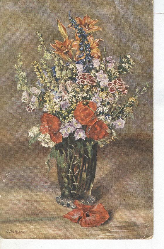 Beautiful Flowers in Vase SIGNED 1917