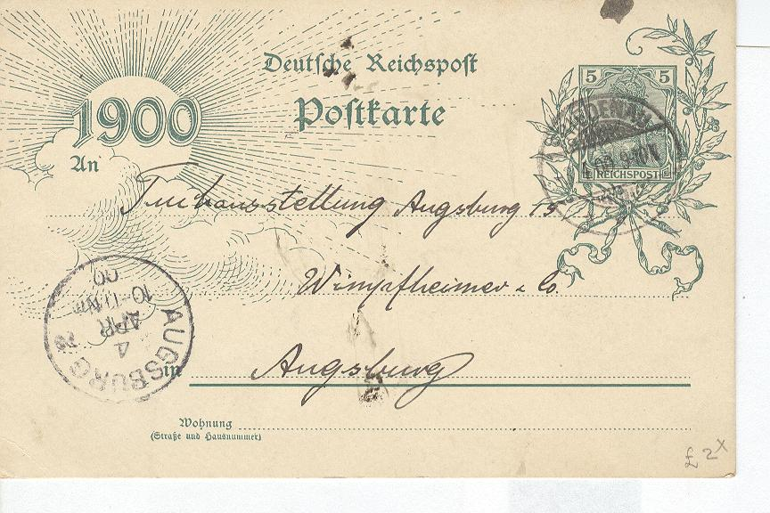 GERMANY OFFICIAL CARD April 1900