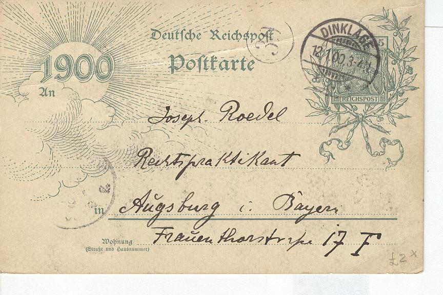 GERMANY POSTCARD 1900 OFFICIAL CARD