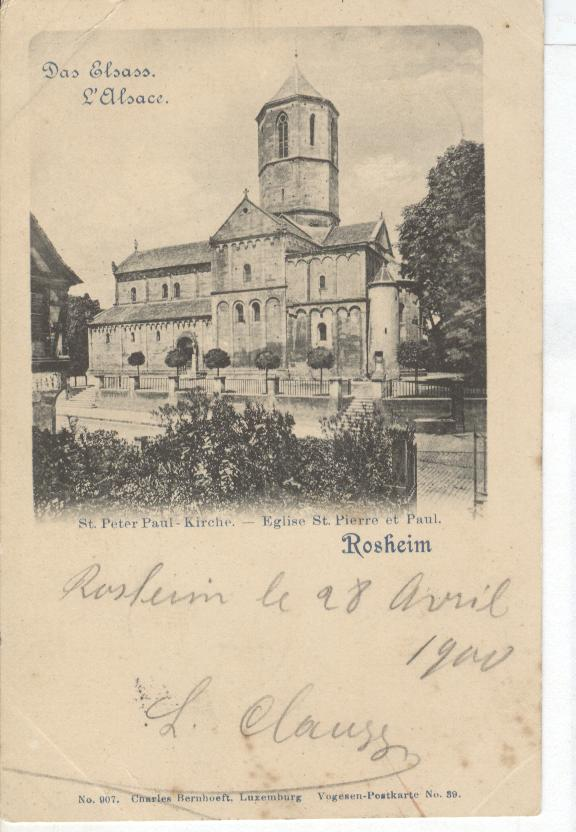 PRE 1900 Germany Postcard Rosheim St.Peter Paul-Kirche Eglise