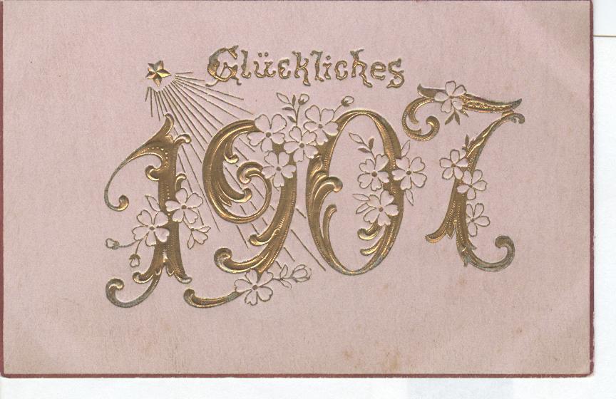 1917 Herzlichen Glickwunsch Zum Neuen Tahre New Year Postcard