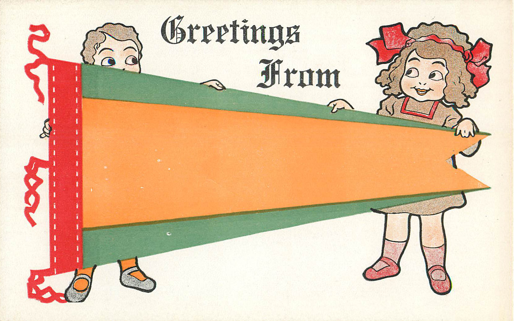 Greeting From - Orange & Green - Pennant Postcard