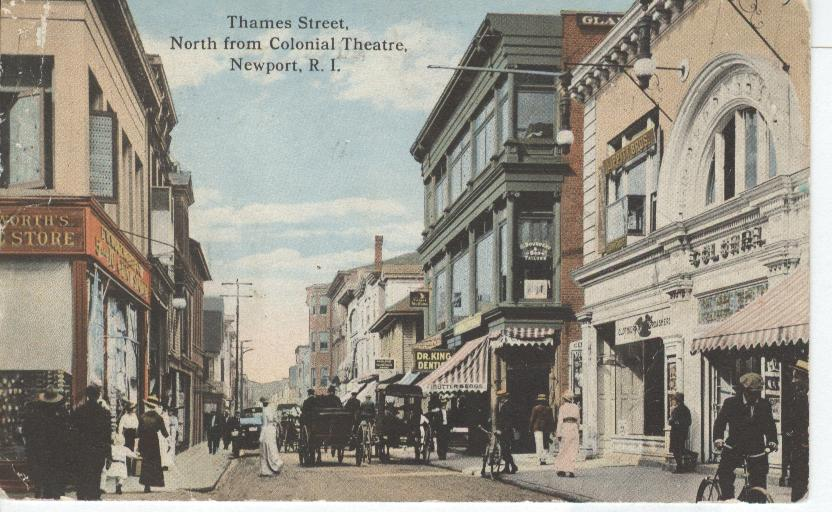 Thames Street, North from Colonial Theatre, Newport, R.I.