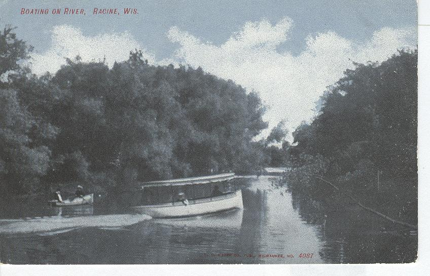 Boating on River, Racine, Wis.
