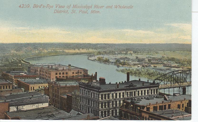 Bird's Eye View of Mississippi River and Wholesale District