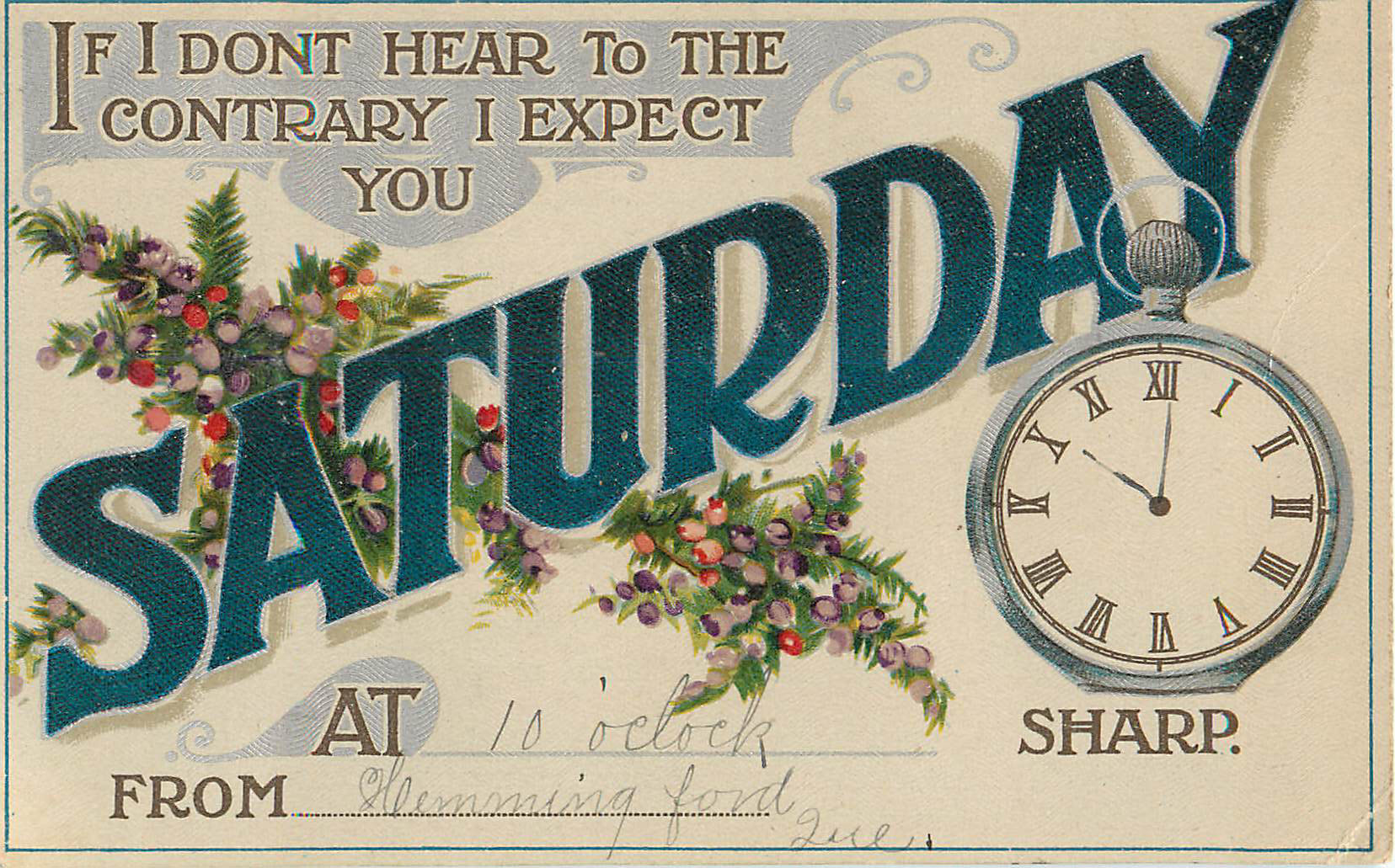 Expect You on Saturday - Appointment Card
