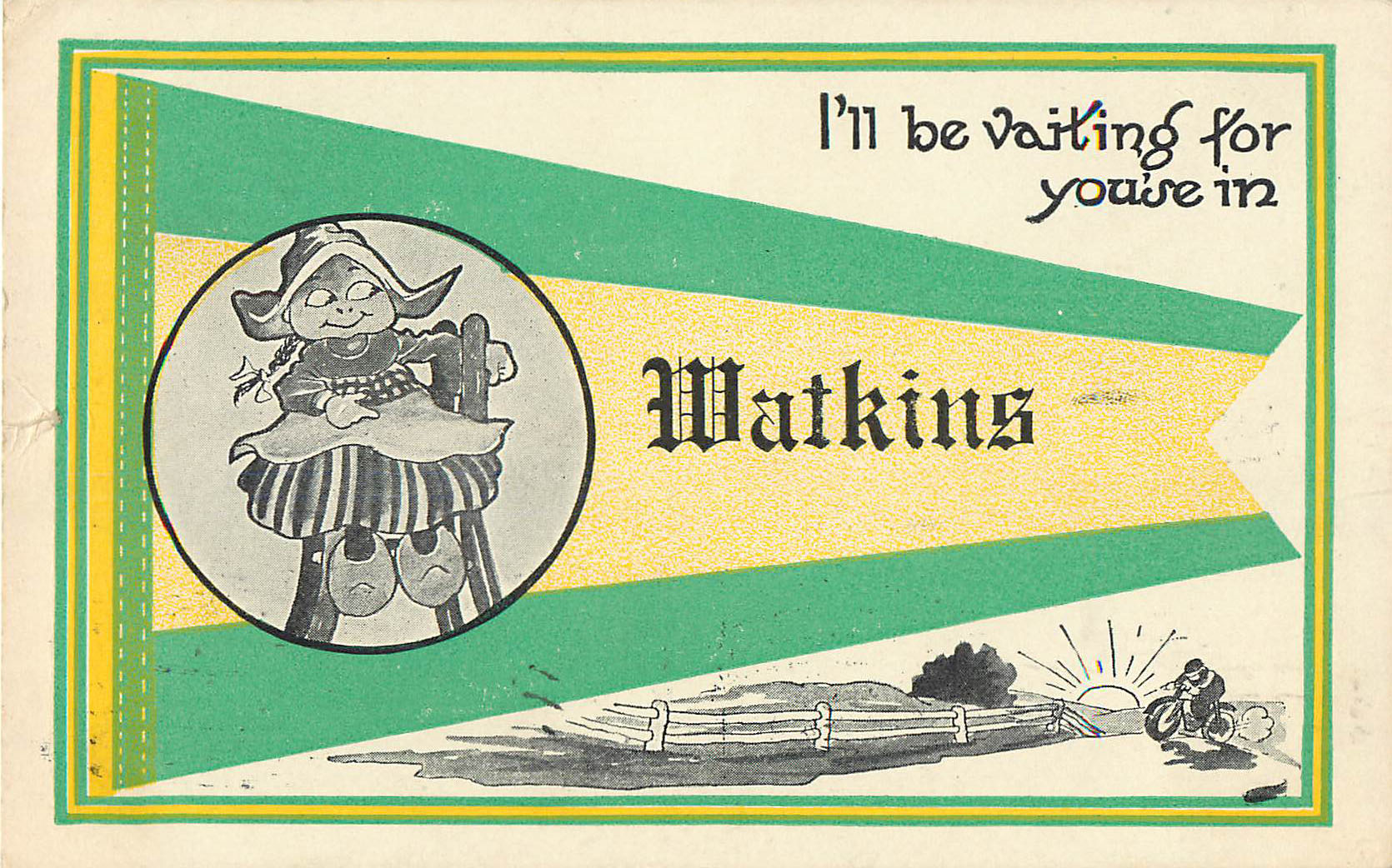 I'll be waiting for you'se in Watkins - Pennant Postcard