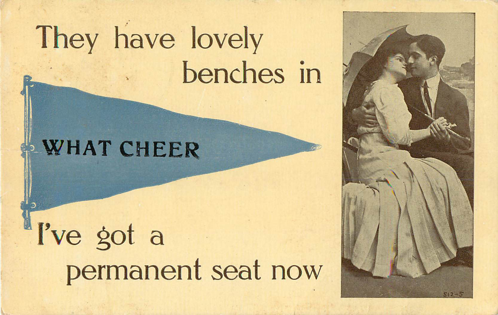They have lovely benches in What Cheer - Pennant Postcard