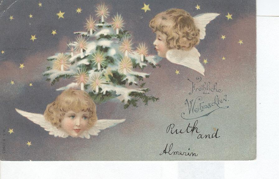 GERMAN Christmas Greeting Postcard Froliche Weinachten