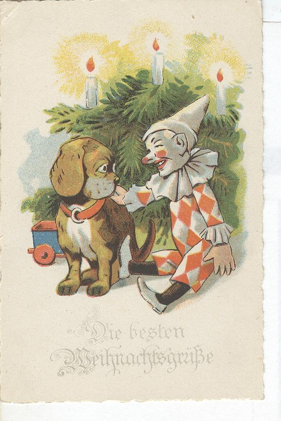 Vintage Christmas Greeting Postcard, Clown & Puppy Dog
