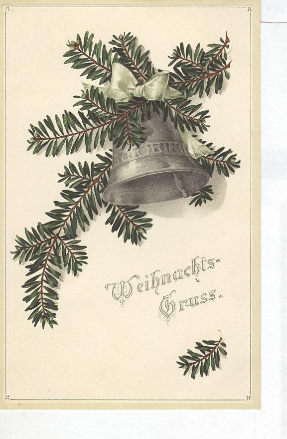 Christmas Postcard - WEIHNACHTS GRUSS Holly Bell