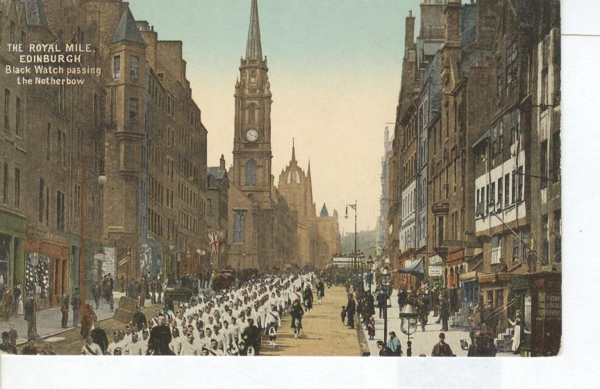 The Royal Mile Edinburgh Black Watch Passing the Netherbow