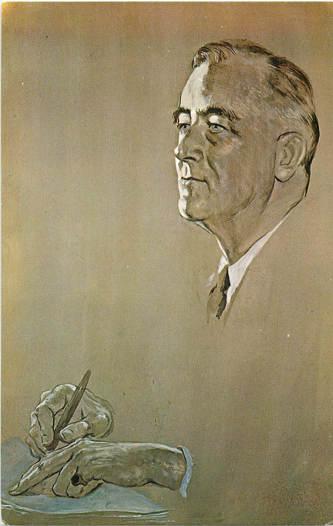 Watercolor Portrait of FDR - by Irena Wiley""