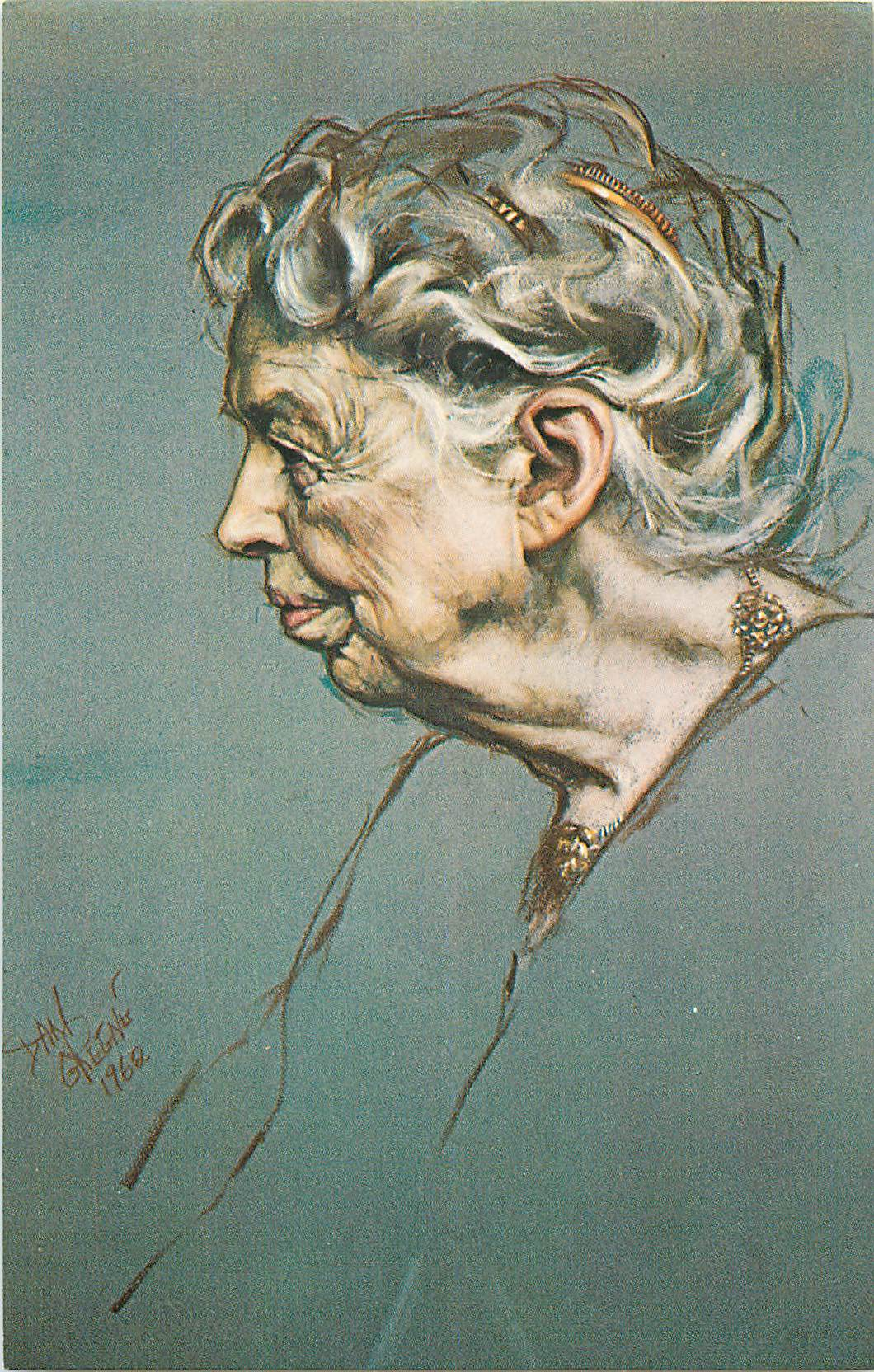 """Pastel Portrait of Eleanor Roosevelt - by Daniel Greene"""