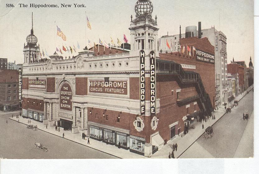 Postcard featuring the New York Hippodrome