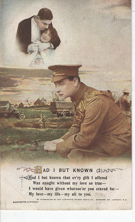 "World World 1 ""Had I But Known"" Story War Postcard"