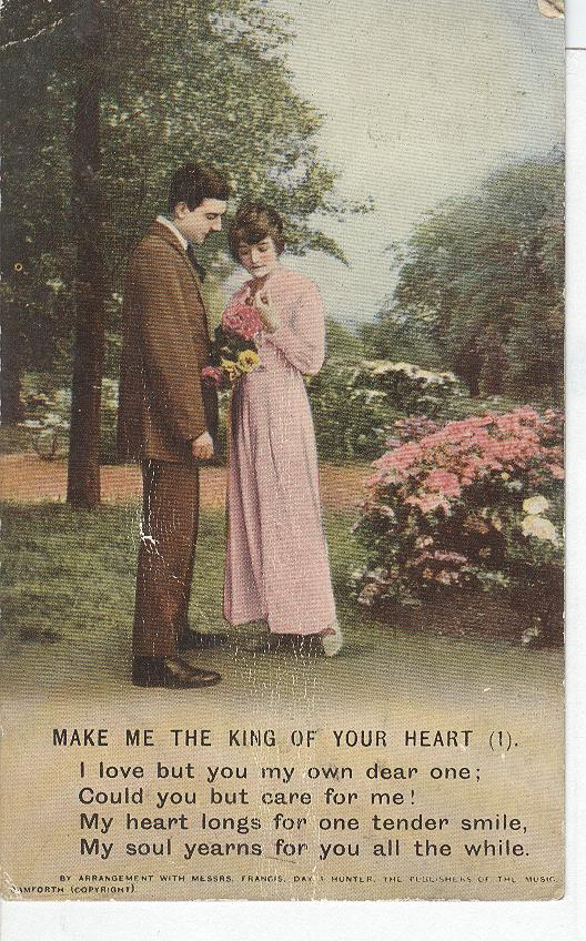 "World War 1 ""Make Me The King Of Your Heart"" Story War Postcard"