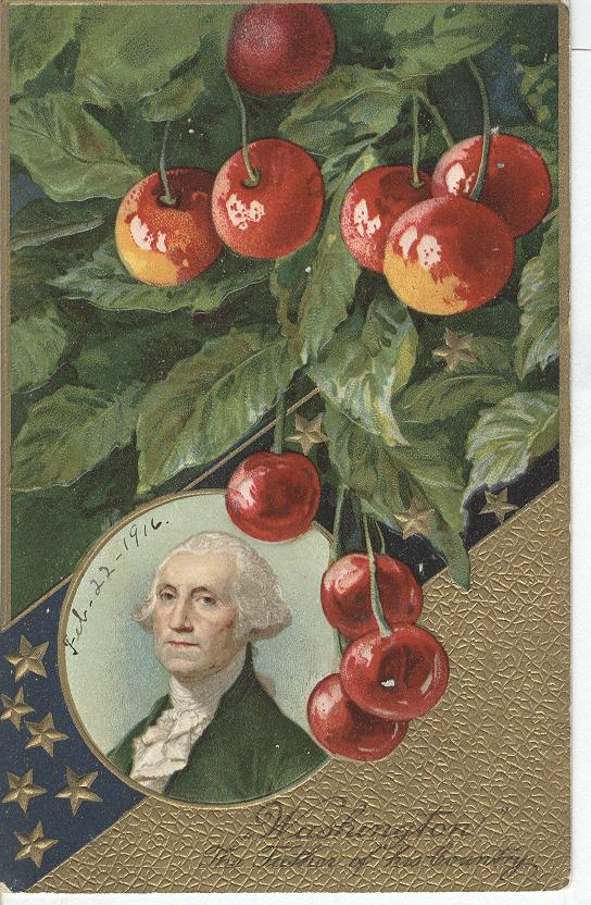 George Washington, shown under a cherry tree