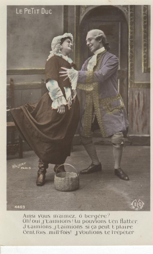 French...Le Petit Duc (Drama)Woman in brown dress/Man in Purple
