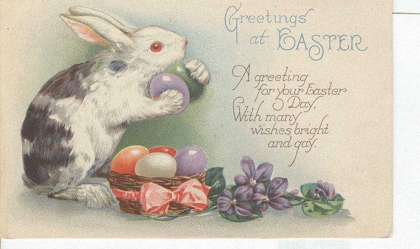 Easter Greeting Postcard-With Rabbit and Easter Eggs 1926