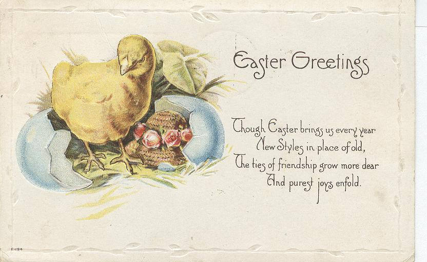 Easter Greetings...Hatching Chick...Though Easter Brings Us.....