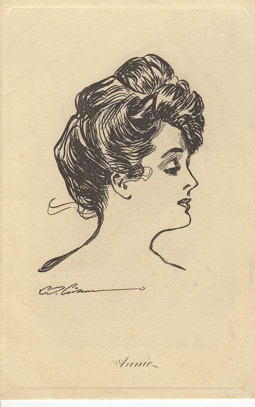 Artist Signed Postcard - Profile of Annie