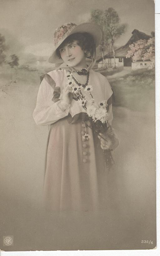 Awaiting with flowers, Woman Wearing a Hat.
